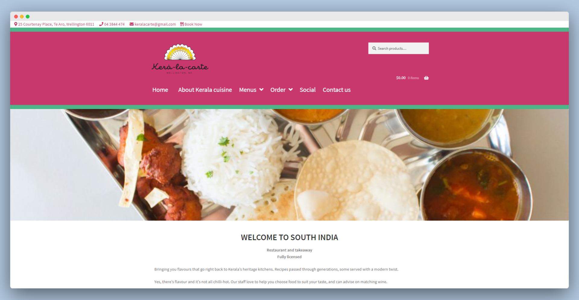 screenshot of the Kera-la-carte website