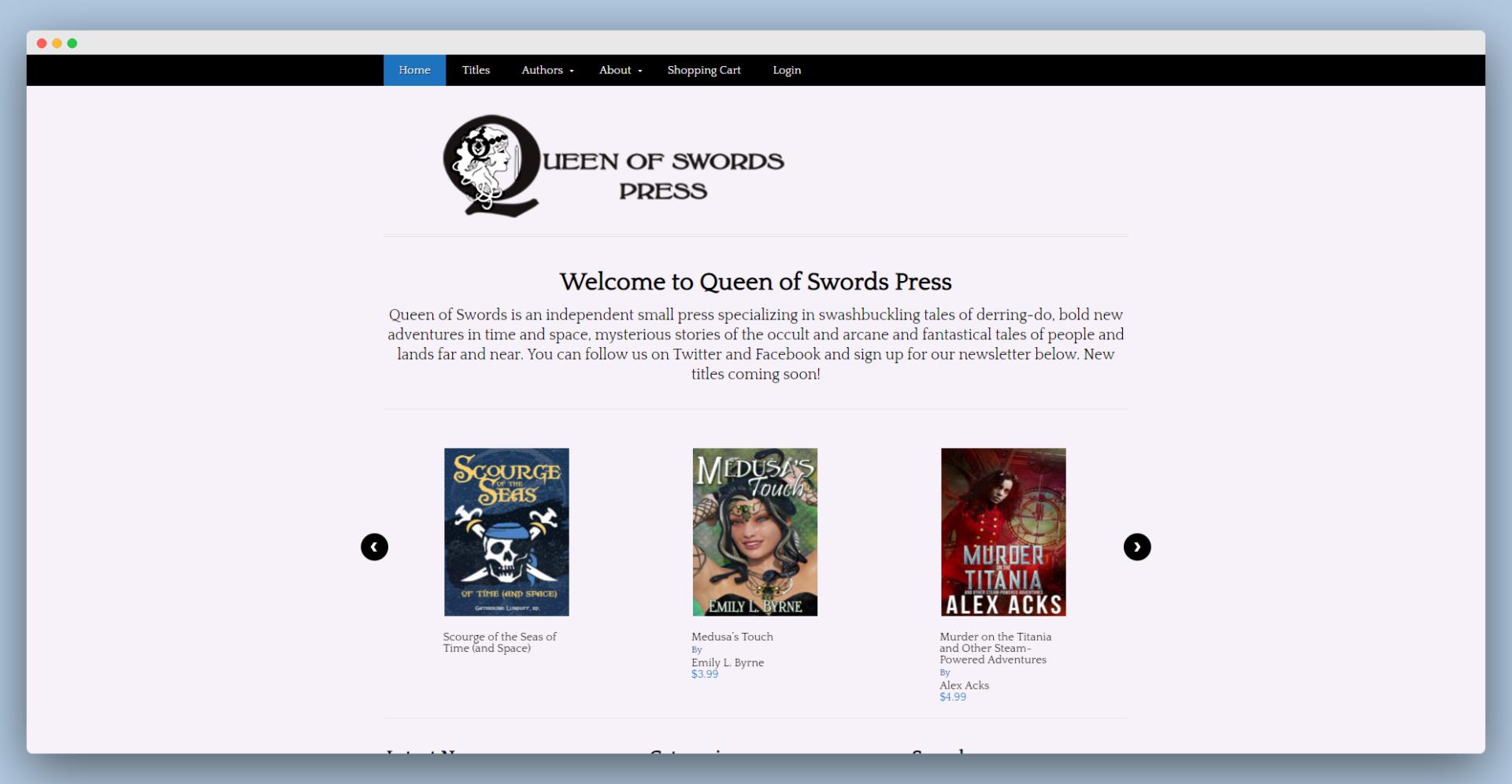 screenshot of the Queen of Swords website
