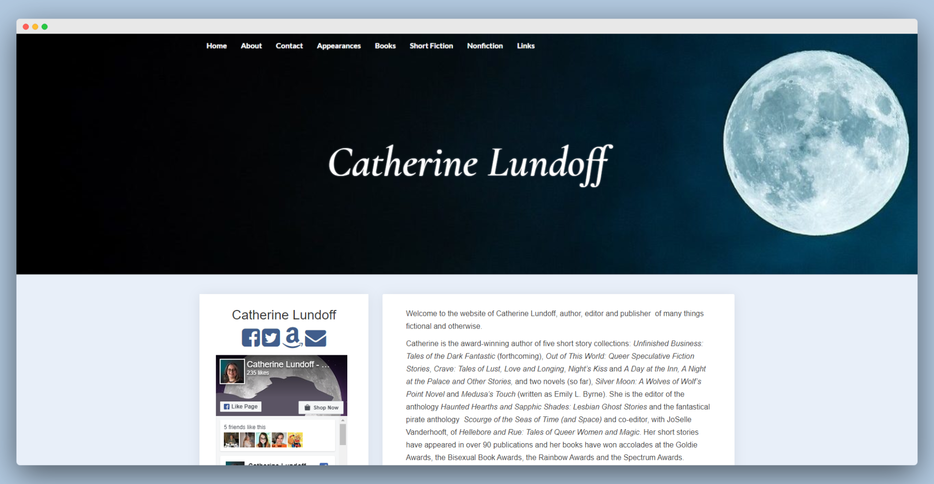 screenshot of Catherine Lundoff's website