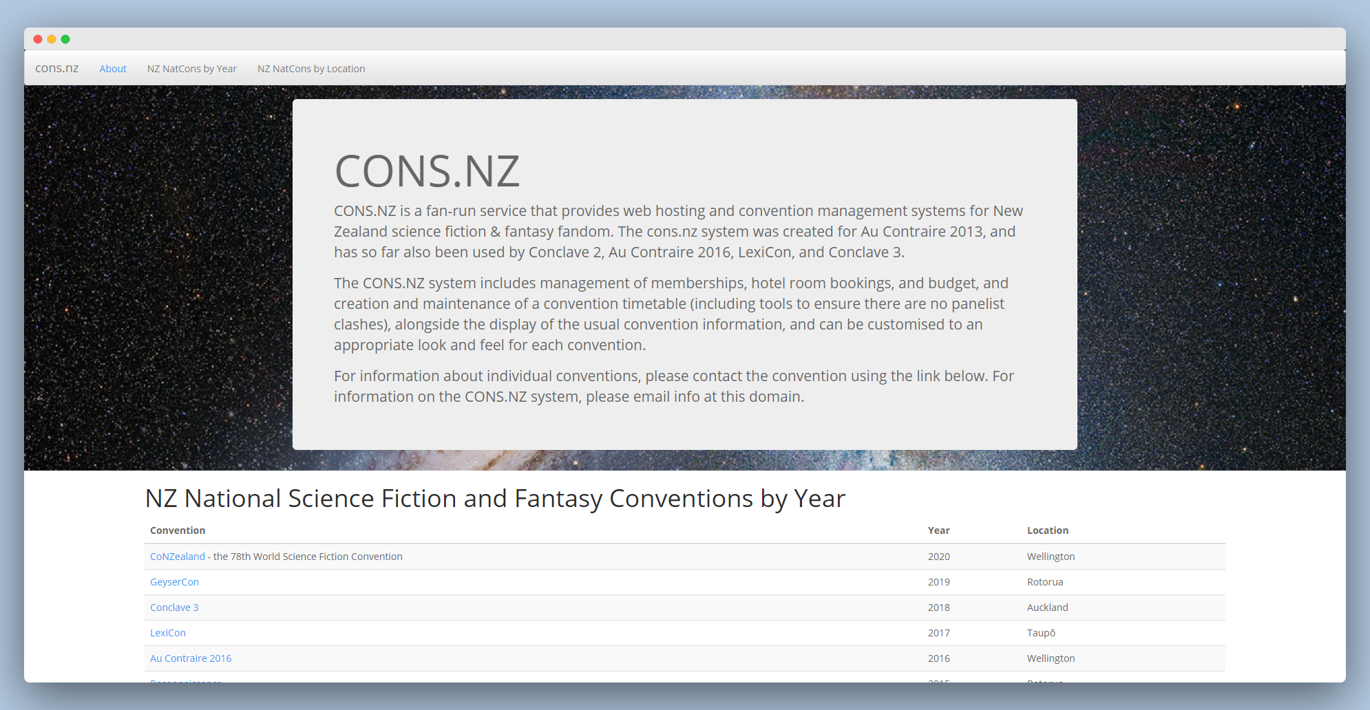 screenshot of the cons.nz website