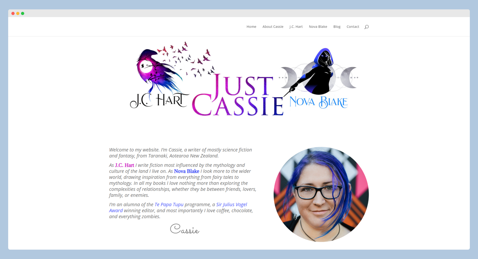 Screenshot of Just Cassie's website